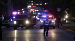 Emergency vehicles near the site of another explosion in Austin, Texas (Eric Gay/AP)