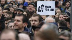 The protests were sparked by the murders of Jan Kuciak and Martina Kusnirova (Darko Vojinovic/PA)