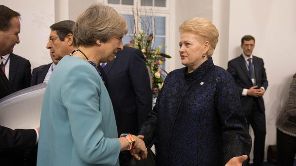 Prime Minister Theresa May with the President of Lithuania Dalia Grybauskaite in Valletta, Malta (Stefan Rousseau/AP)