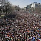 The crowd fills Pennsylvania Avenue during the March for Our Lives rally in support of gun control (Alex Brandon/AP)