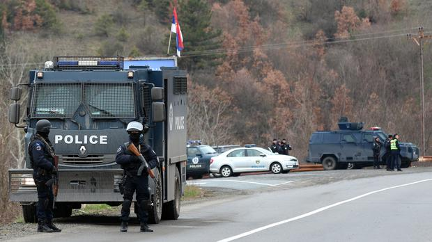 Kosovo police block road near the northern, Serb-dominated part of Mitrovica, Kosovo (AP)