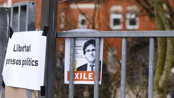 A picture of Carlos Puidgemont is fixed in front of the entrance of a prison in Neumuenster, northern Germany (Frank Molter/dpa/AP)