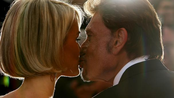 Actor and musician Johnny Hallyday and wife Laetitia Hallyday at Cannes Film Festival (Dominic Lipinski/PA)