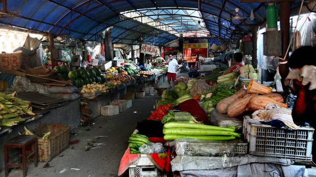 An indoor market in the Hunan Road area of Qingdao in China (David Jones/PA)