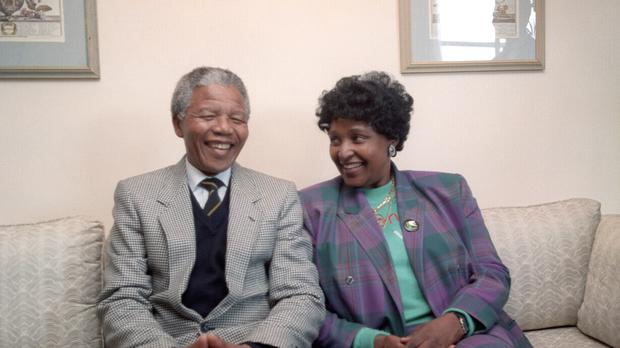 Nelson and Winnie Mandela during a visit to London in 1990 (Rebecca Naden/PA)