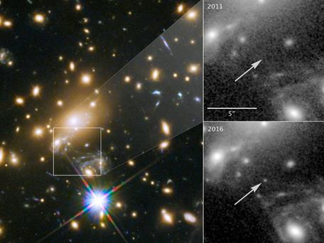 While monitoring a supernova, a team of astronomers noticed a point of light emerging, which they later realised was the most distant individual star ever identified Photo: Nasa