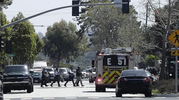 Police near YouTube's HQ in San Bruno, California after reports of a shooting (AP Photo/Jeff Chiu)