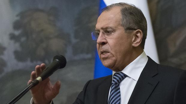 Russian foreign minister Sergey Lavrov said the nerve agent poisoning was 'staged' (Alexander Zemlianichenko/AP)