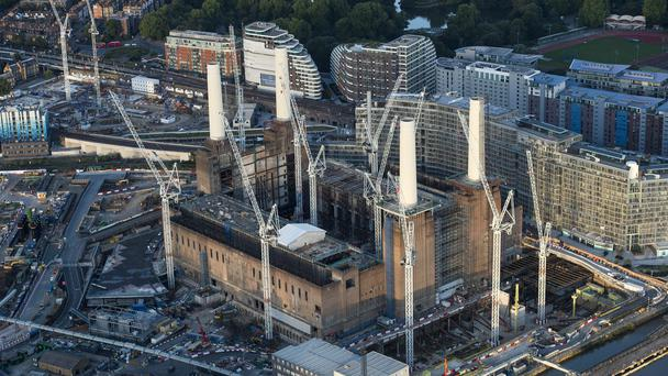 An aerial view of the construction work at Battersea Power Station in central London (PA)