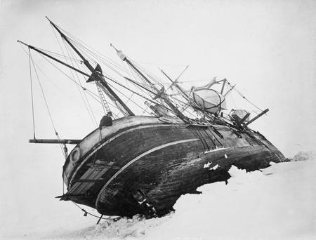The Endurance pictured trapped in the sea ice of the Weddell Sea in the Antarctic