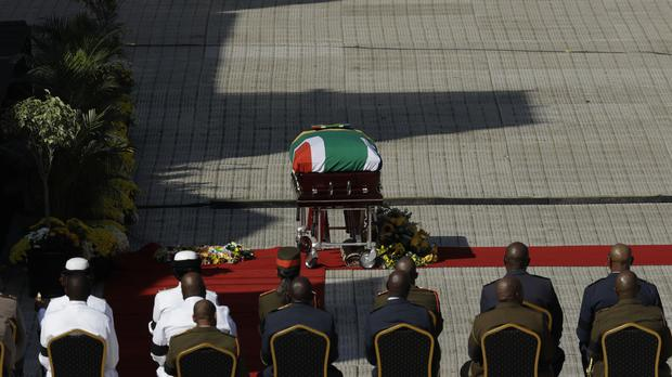 Winnie Madikizela-Mandela's coffin arrives at her funeral service at the Orlando Stadium in Soweto, South Africa (AP)