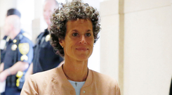 Andrea Constand, left, on her way to court yesterday. Photo: Reuters