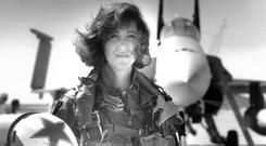Tammie Jo Shults, the pilot of the Southwest plane that made an emergency landing after an engine explosion.(Thomas P Milne/US Navy via AP)