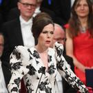 Professor Sara Danius makes a speech during the Nobel award ceremony at the Concert house in Stockholm (Fredrik Sandberg/TT/AP)