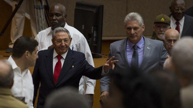 Raul Castro with his successor Miguel Diaz-Canel (Irene Perez/AP)