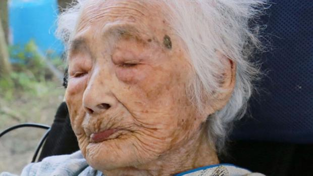 Nabi Tajima, the world's oldest person (Kikai Town/Kyodo News via AP)