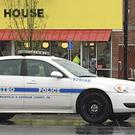 A police vehicle sits outside the Waffle House restaurant in Nashville (Sheila Burke/AP)