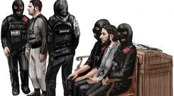 A court sketch of Salah Abdeslam, second right, and Sofiane Ayari, second left, at an earlier hearing (AP)