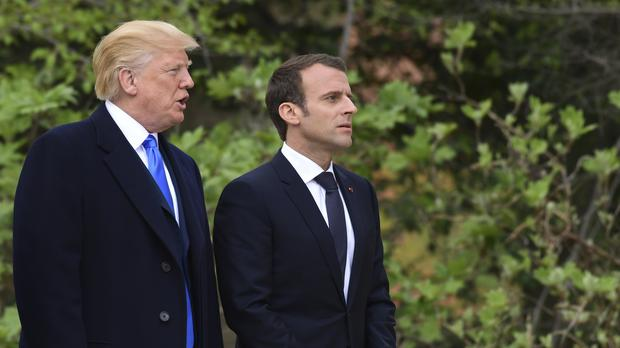 Donald Trump and Emmanuel Macron arrive for a visit at George Washington's Mount Vernon estate (Susan Walsh/AP)
