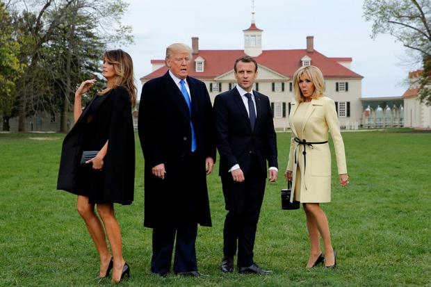 US President Donald Trump and wife Melania and French President Emmanuel Macron and wife Brigitte prepare to have their picture taken on a visit to the estate of the first US president George Washington in Virginia. Photo: Reuters/Jonathan Ernst