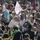 Pope Francis arrives for his weekly general audience on Wednesday (Andrew Medichini/PA)