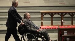 Former President George H W Bush was admitted to hospital a day after the funeral for his wife Barbara (AP Photo/David J. Phillip )