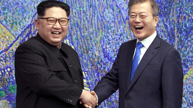 North Korean leader Kim Jong Un with South Korean President Moon Jae-in (Korea Summit Press Pool via AP)