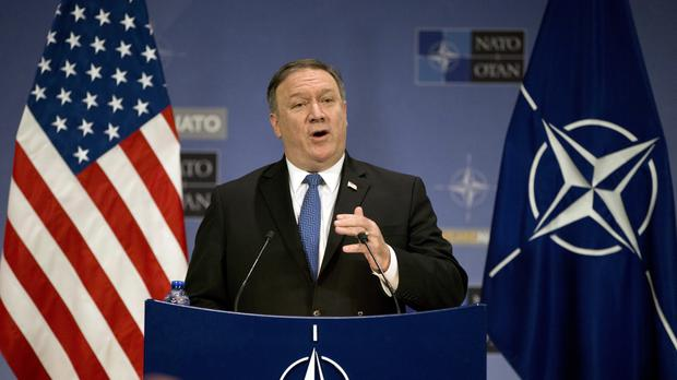 US Secretary of State Mike Pompeo speaks during a media conference at Nato headquarters in Brussels (Virginia Mayo/AP)