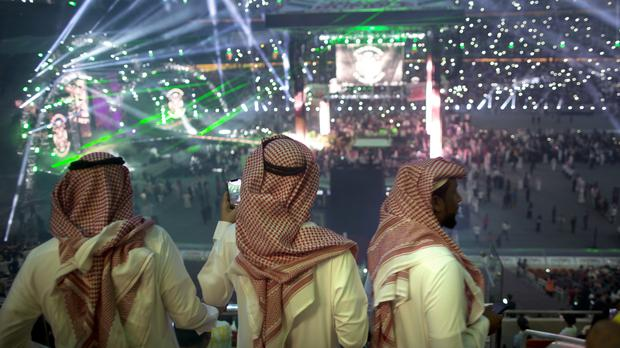 Fans at the Greatest Royal Rumble event in Jiddah, Saudi Arabia. (Amr Nabil/AP)