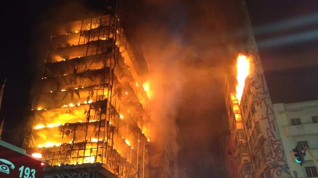 The building on fire in Sao Paulo (Sao Paulo Fire Department via AP)