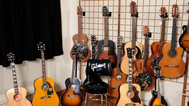 General view of Gibson, acoustic guitars, resonator guitars and mandolins (Ian West/PA)