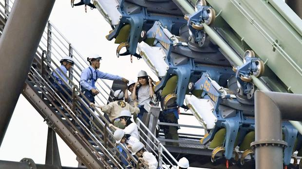 Sixty-four passengers were left hanging in the air for up to two hours (Chika Oshima/Kyodo News via AP)