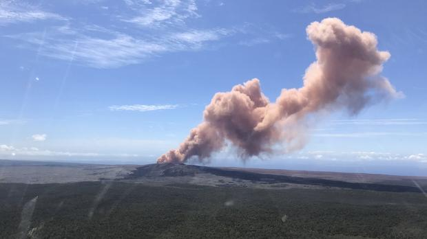 Red ash rises from the Puu Oo vent on Hawaii's Kilauea volcano after an earthquake struck the Big Island (Kevan Kamibayashi/US Geological Survey/AP)