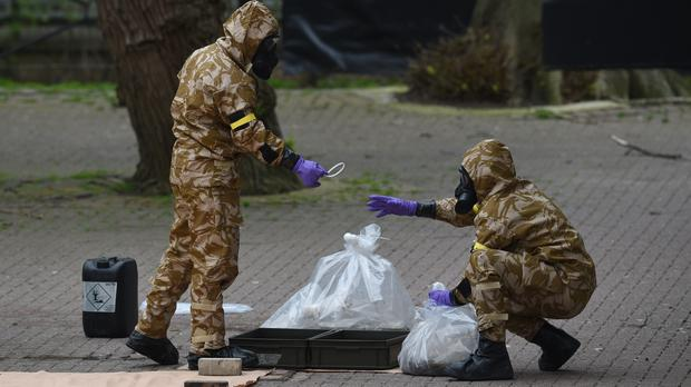 Military personnel in Salisbury where Sergei Skripal and his daughter were poisoned. (Ben Birchall/PA)