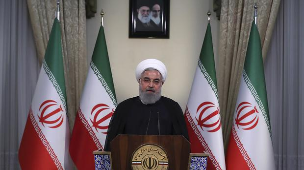 Iranian President Hassan Rouhani addresses the nation (Iranian Presidency Office via AP)