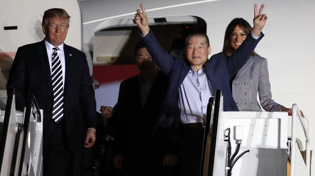 President Donald Trump and first lady Melania Trump greet former North Korean detainee Kim Dong Chul (Alex Brandon/AP)