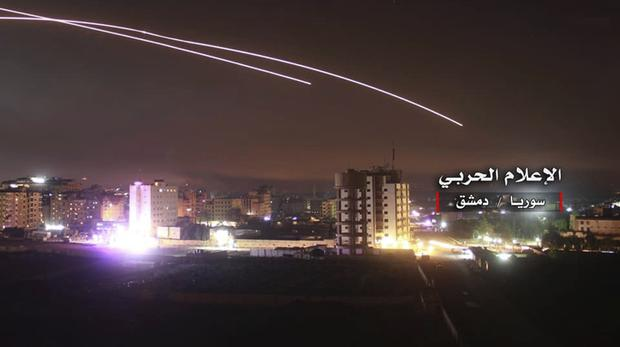 Israeli missiles hit military bases in Damascus, Syria (Syrian Central Military Media, via AP)