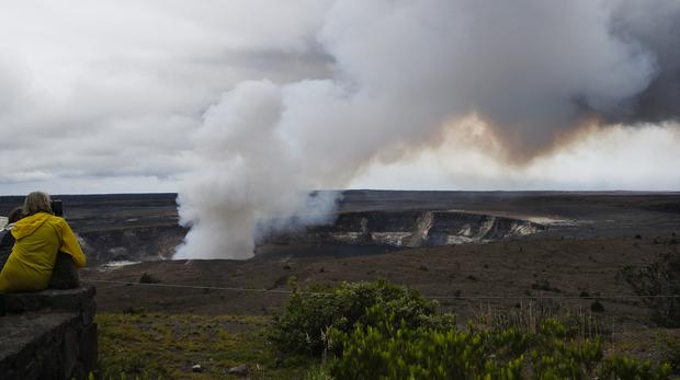 Steam and gas rise from Kilauea's summit crater in Hawaii (Jae C Hong/AP)