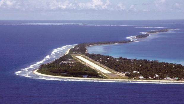 SOUTH PACIFIC: The airstrip that serves Tuvalu - a collection of nine tiny atolls, with a population of just 11,000 people. Photo: All Over Press