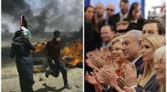 Palestinians protest as dignitaries applaud at the opening ceremony of the new US embassy in Jerusalem (AP)