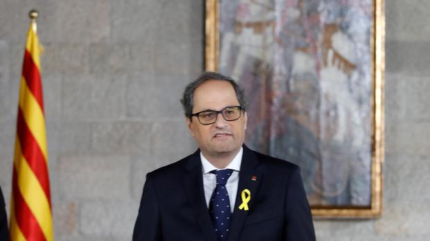 New Catalan President Quim Torra at a swearing in ceremony (Alberto Estevez, Pool via AP)