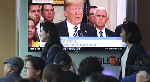 """North Korea said it is still willing to sit down for talks with the United States """"at any time, at any format"""" (Ahn Young-joon/AP)"""