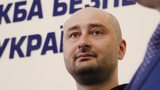 Russian journalist Arkady Babchenko appears at the news conference (AP)