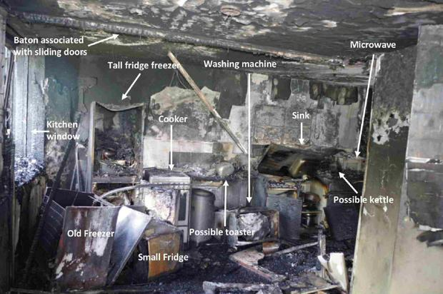 The kitchen from flat 16 at Grenfell Tower is seen in this undated handout image, presented as part of Professor Niamh Nic Daeid's report to the Grenfell Tower Inquiry in London. Photo: Reuters
