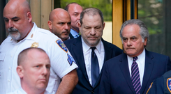 Harvey Weinstein (second from right) leaves court in Manhattan yesterday. Photo: AFP/Getty Images