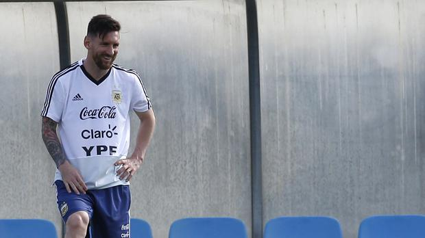 Argentina's Lionel Messi takes part during a team training session (AP)