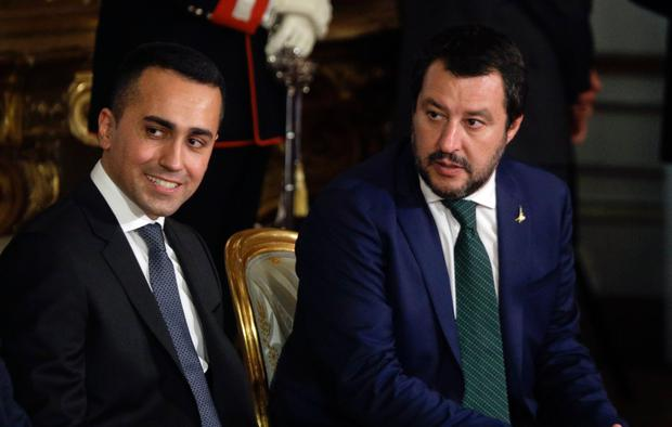 Leader of Italy's League party, Matteo Salvini, right, and Luigi Di Maio, leader of the Five-Star movement. Photo: AP