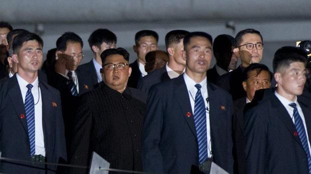 North Korean leader Kim Jong Un walks in Marina Bay, Singapore (AP)
