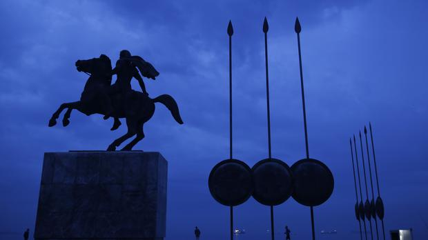 A modern bronze statue of Alexander the Great in Thessaloniki (AP)