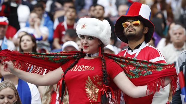 Russian fans in the Luzhniki Stadium (AP Photo/Antonio Calanni)